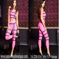 Elastic straps with opaque tube top and capri set
