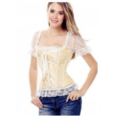 Women Lace Blue Overbust Corset