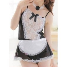 Transparent Lace Uniform Tight Maid