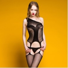 Sexy Black One-Shoulder See-Through Cut Out Gauze Teddy For Women