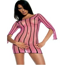 Long sleeve fishnet lace up back mini with contrast vertical pin stripes
