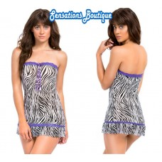 Lace Mesh Zebra Print Tube Dres